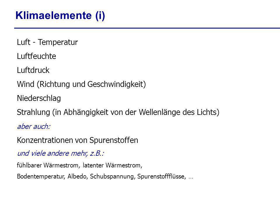 Klimaelemente (i) Luft - Temperatur Luftfeuchte Luftdruck Wind (Richtung und Geschwindigkeit) Niederschlag Strahlung (in Abhängigkeit von der Wellenlä