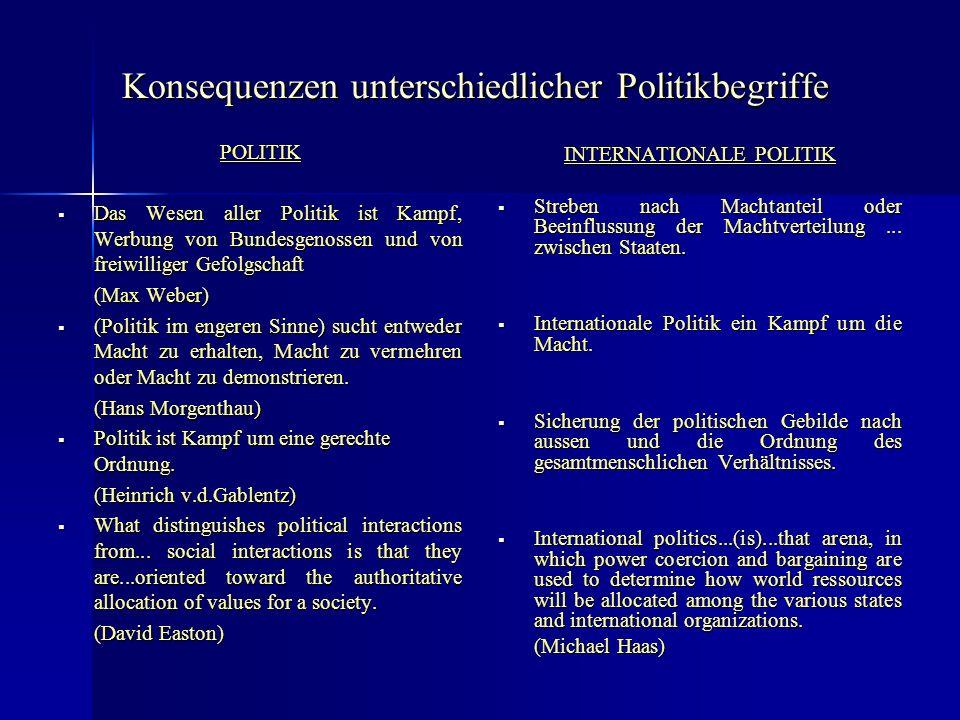 Konsequenzen unterschiedlicher Politikbegriffe POLITIK Das Wesen aller Politik ist Kampf, Werbung von Bundesgenossen und von freiwilliger Gefolgschaft