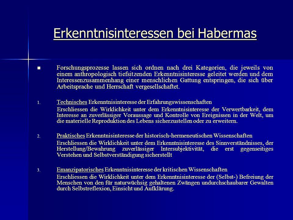 Erkenntnisinteressen bei Habermas Forschungsprozesse lassen sich ordnen nach drei Kategorien, die jeweils von einem anthropologisch tiefsitzenden Erke