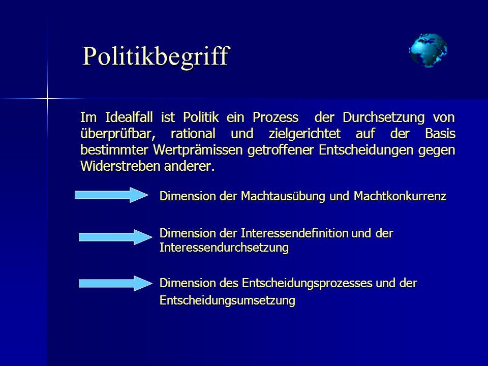 Politikbegriff Politikbegriff Im Idealfall ist Politik ein Prozess der Durchsetzung von überprüfbar, rational und zielgerichtet auf der Basis bestimmt
