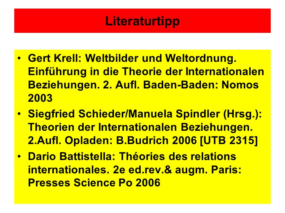 Literaturtipp Gert Krell: Weltbilder und Weltordnung.