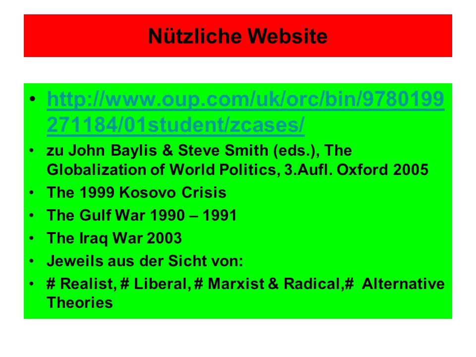 Nützliche Website http://www.oup.com/uk/orc/bin/9780199 271184/01student/zcases/http://www.oup.com/uk/orc/bin/9780199 271184/01student/zcases/ zu John Baylis & Steve Smith (eds.), The Globalization of World Politics, 3.Aufl.