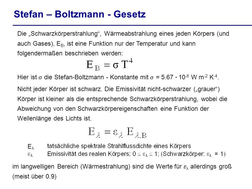 Stefan – Boltzmann - Gesetz Die Schwarzkörperstrahlung, Wärmeabstrahlung eines jeden Körpers (und auch Gases), E B, ist eine Funktion nur der Temperat