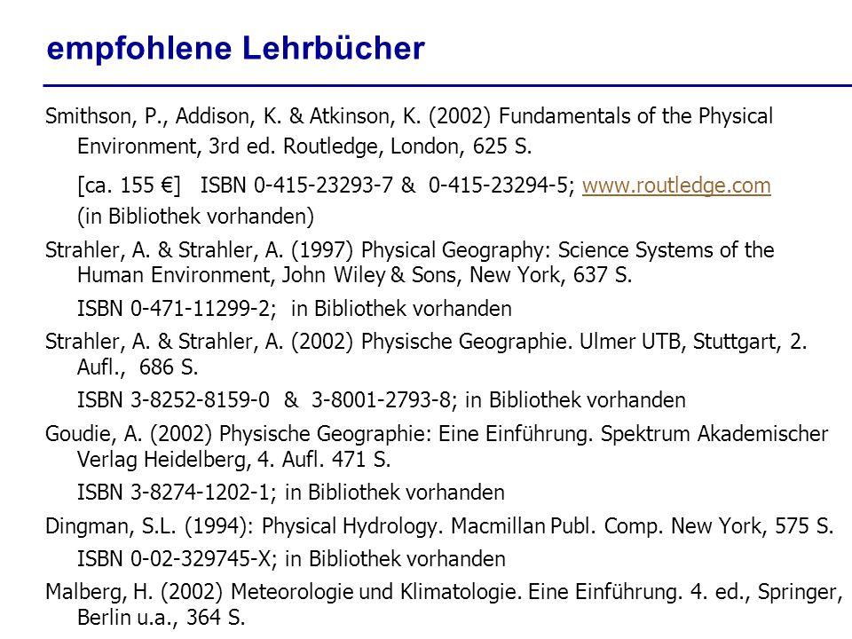 empfohlene Lehrbücher Smithson, P., Addison, K. & Atkinson, K. (2002) Fundamentals of the Physical Environment, 3rd ed. Routledge, London, 625 S. [ca.