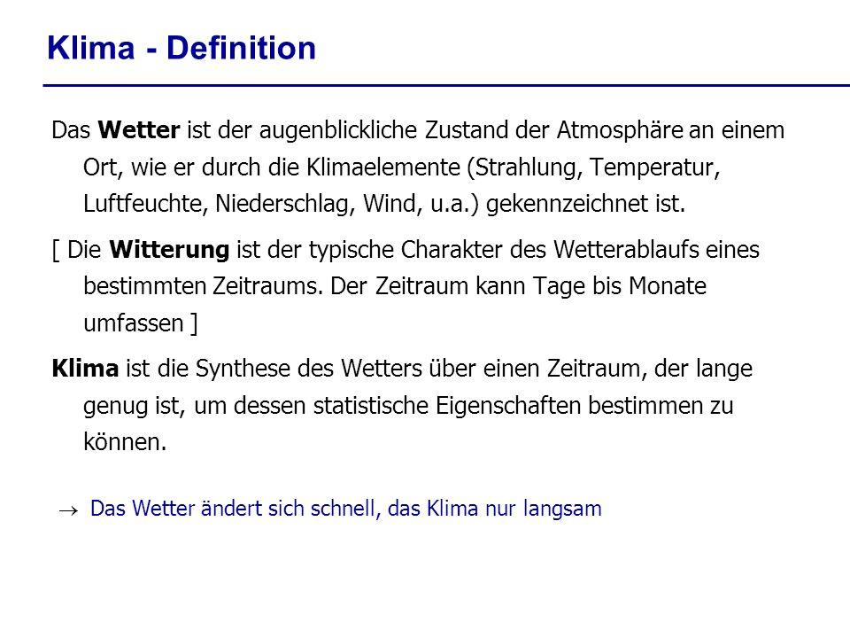 Klima - Definition Das Wetter ist der augenblickliche Zustand der Atmosphäre an einem Ort, wie er durch die Klimaelemente (Strahlung, Temperatur, Luft