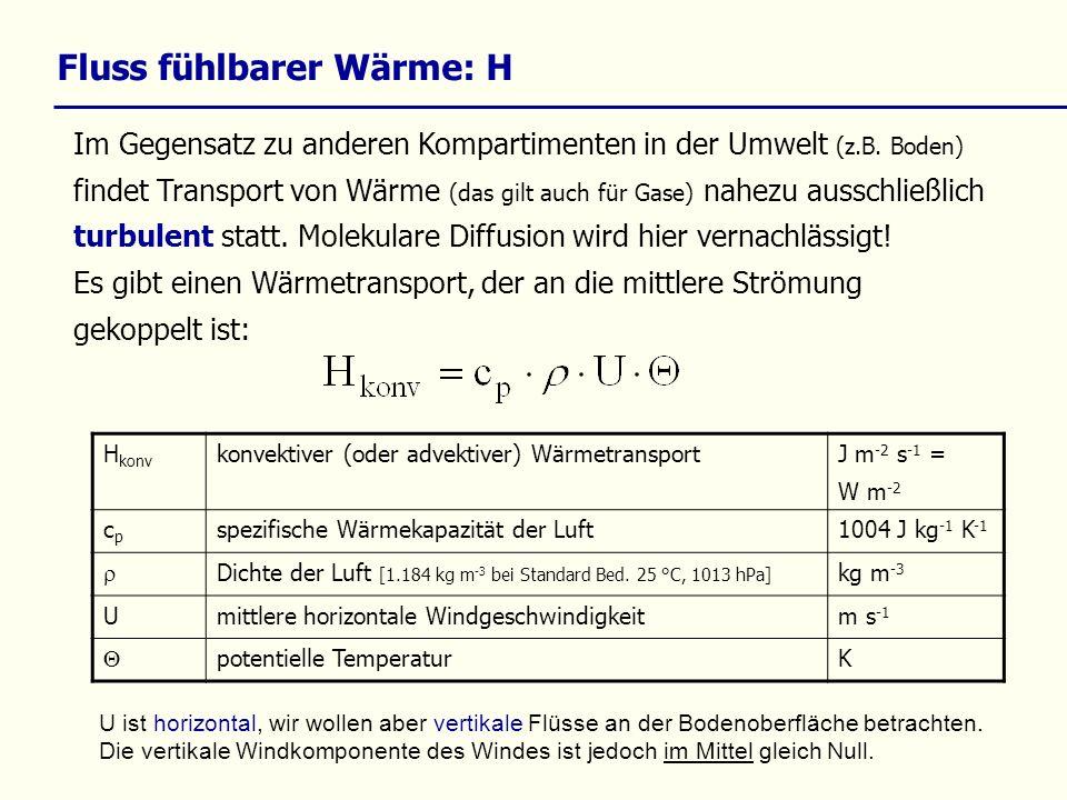 Fluss fühlbarer Wärme: H Im Gegensatz zu anderen Kompartimenten in der Umwelt (z.B.