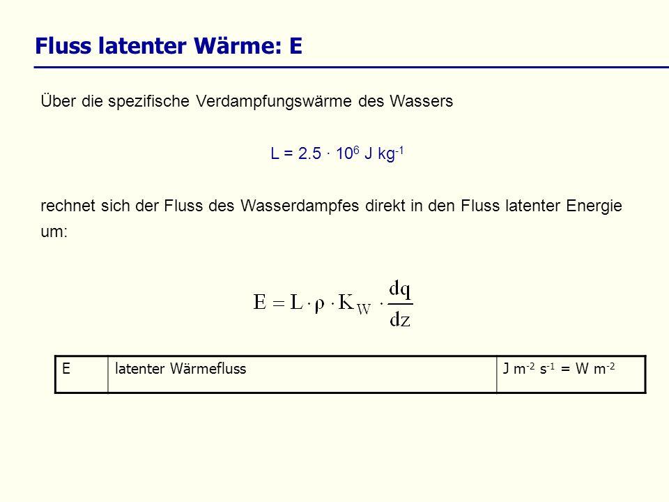Über die spezifische Verdampfungswärme des Wassers L = 2.5 · 10 6 J kg -1 rechnet sich der Fluss des Wasserdampfes direkt in den Fluss latenter Energie um: Fluss latenter Wärme: E Elatenter WärmeflussJ m -2 s -1 = W m -2