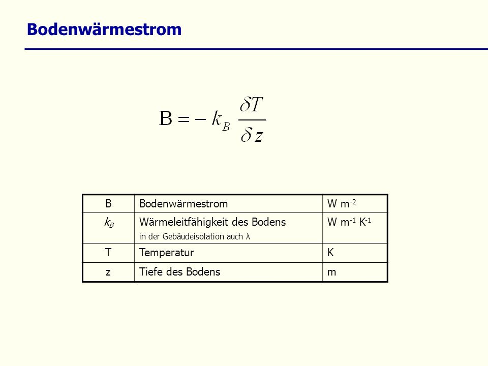 Bodenwärmestrom B W m -2 kBkB Wärmeleitfähigkeit des Bodens in der Gebäudeisolation auch λ W m -1 K -1 TTemperaturK zTiefe des Bodensm