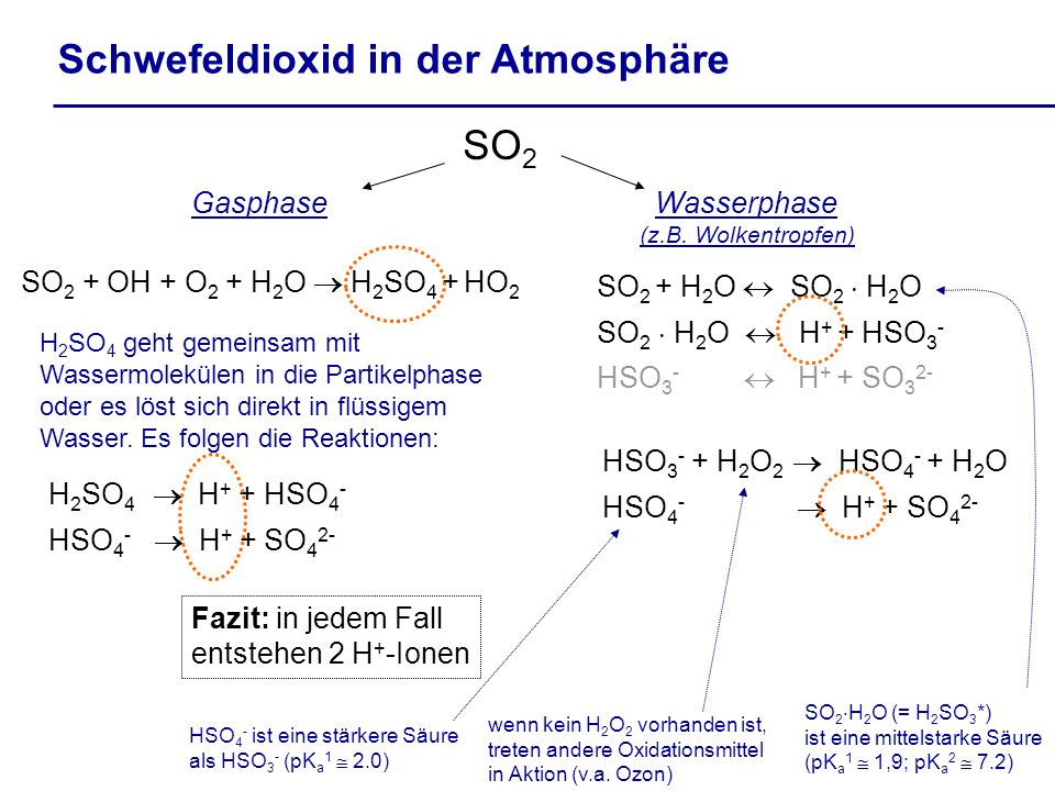 SO 2 + H 2 O SO 2 H 2 O SO 2 H 2 O H + + HSO 3 - HSO 3 - H + + SO 3 2- SO 2 Schwefeldioxid in der Atmosphäre Gasphase SO 2 + OH + O 2 + H 2 O H 2 SO 4