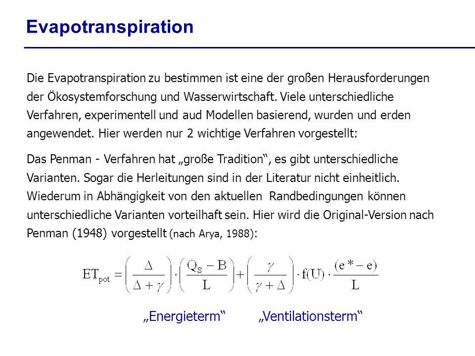 Evapotranspiration EnergietermVentilationsterm Die Evapotranspiration zu bestimmen ist eine der großen Herausforderungen der Ökosystemforschung und Wa