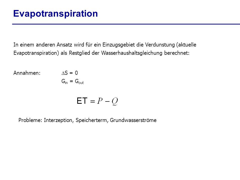 Evapotranspiration In einem anderen Ansatz wird für ein Einzugsgebiet die Verdunstung (aktuelle Evapotranspiration) als Restglied der Wasserhaushaltsg