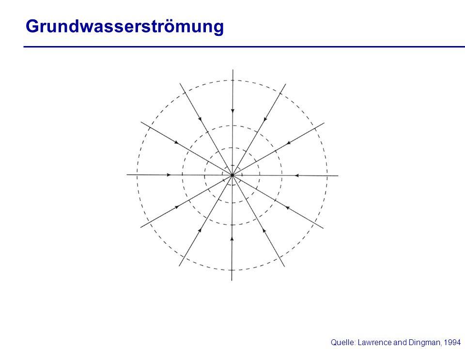 Grundwasserströmung Quelle: Lawrence and Dingman, 1994