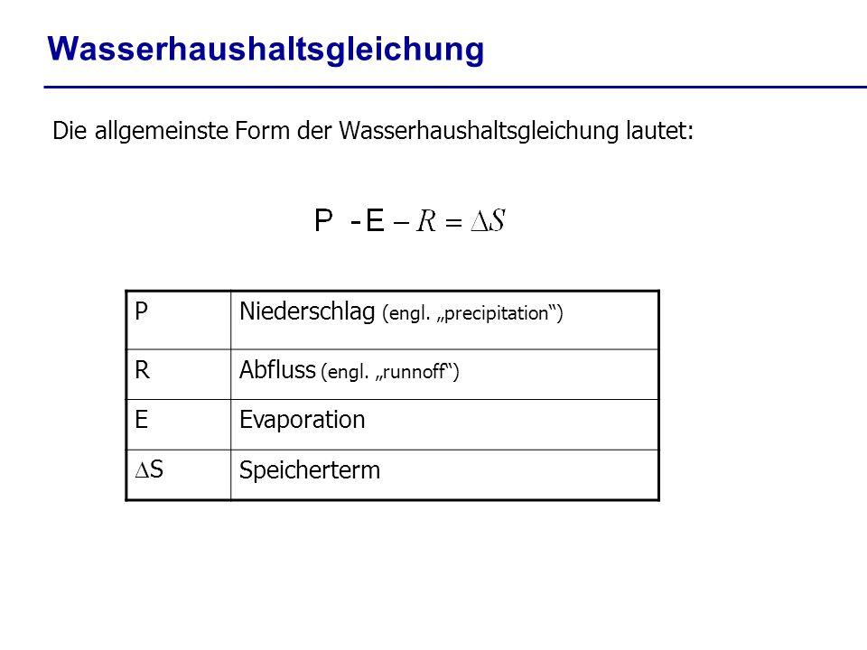 Wasserhaushaltsgleichung Die allgemeinste Form der Wasserhaushaltsgleichung lautet: PNiederschlag (engl. precipitation) RAbfluss (engl. runnoff) EEvap