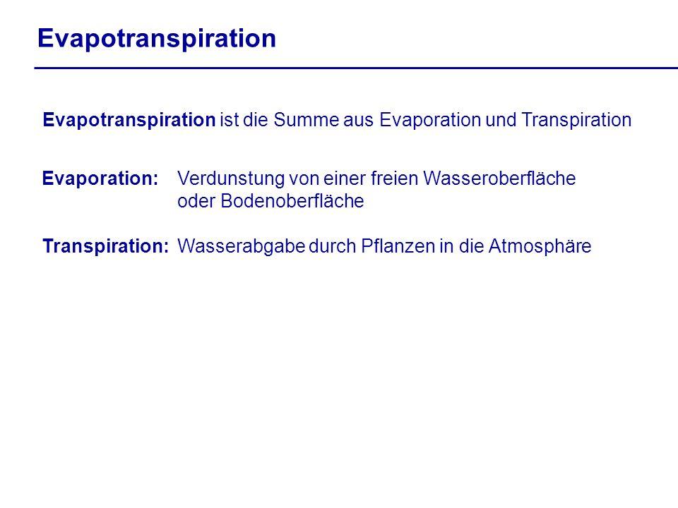 Evapotranspiration Evapotranspiration ist die Summe aus Evaporation und Transpiration Evaporation: Verdunstung von einer freien Wasseroberfläche oder