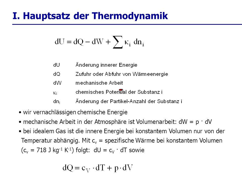 wir vernachlässigen chemische Energie mechanische Arbeit in der Atmosphäre ist Volumenarbeit: dW = p · dV bei idealem Gas ist die innere Energie bei k