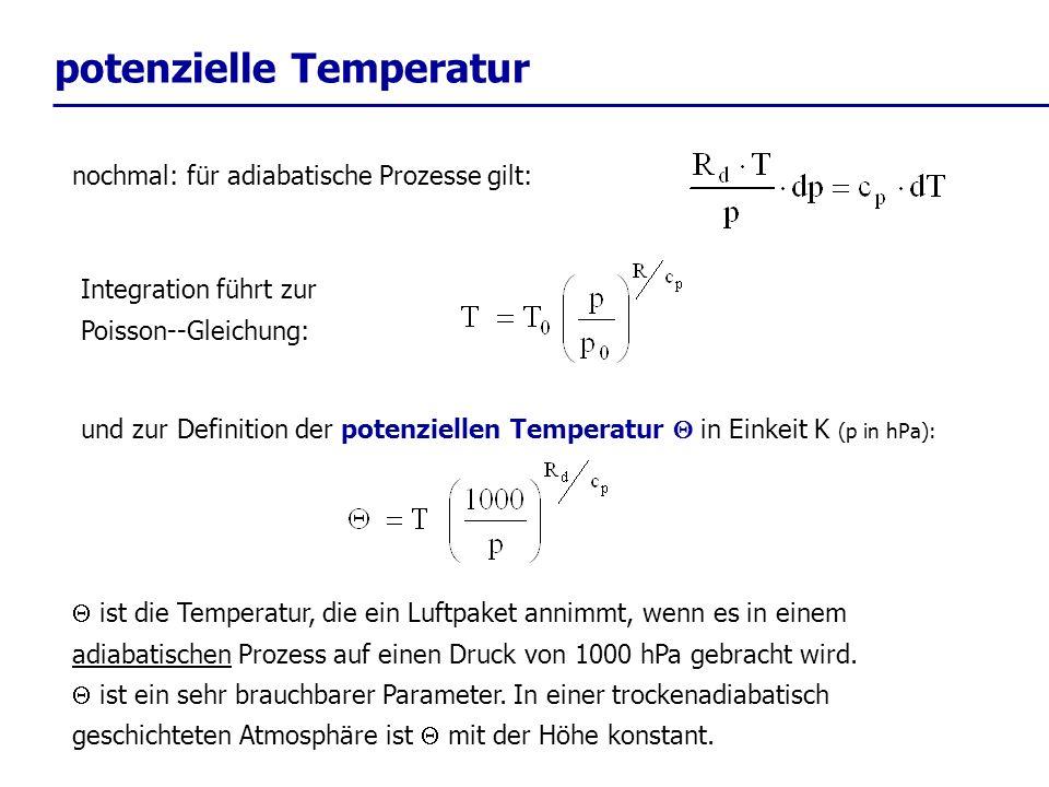 potenzielle Temperatur Integration führt zur Poisson--Gleichung: nochmal: für adiabatische Prozesse gilt: und zur Definition der potenziellen Temperat