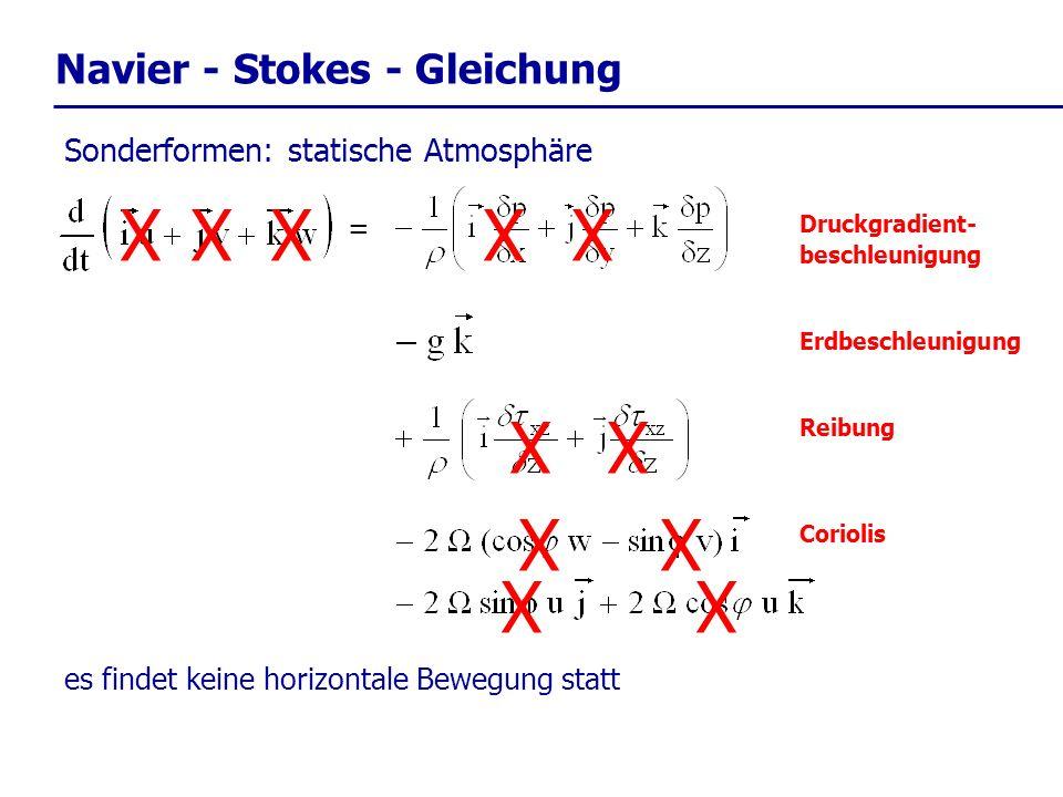 Navier - Stokes - Gleichung = Druckgradient- beschleunigung Reibung Erdbeschleunigung Coriolis Sonderformen: statische Atmosphäre XX XX X es findet ke