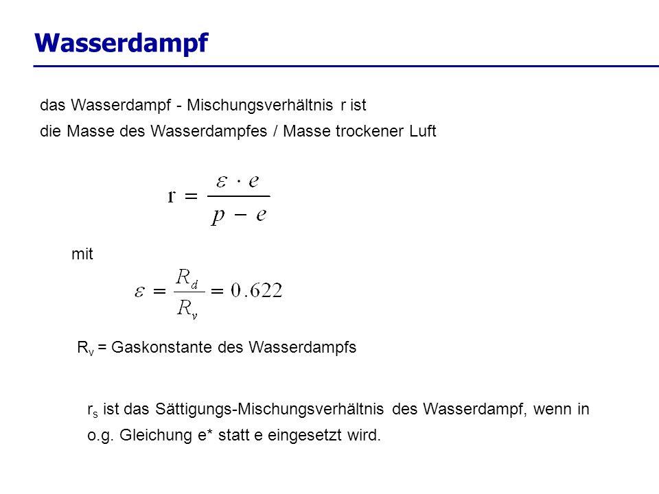Wasserdampf das Wasserdampf - Mischungsverhältnis r ist die Masse des Wasserdampfes / Masse trockener Luft r s ist das Sättigungs-Mischungsverhältnis