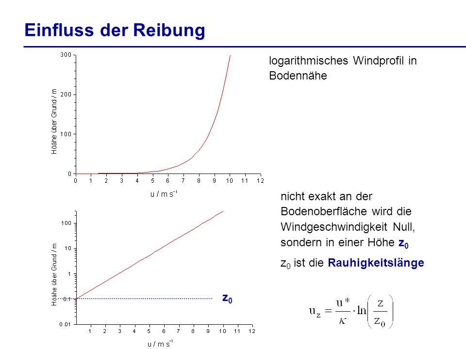 Einfluss der Reibung logarithmisches Windprofil in Bodennähe nicht exakt an der Bodenoberfläche wird die Windgeschwindigkeit Null, sondern in einer Hö