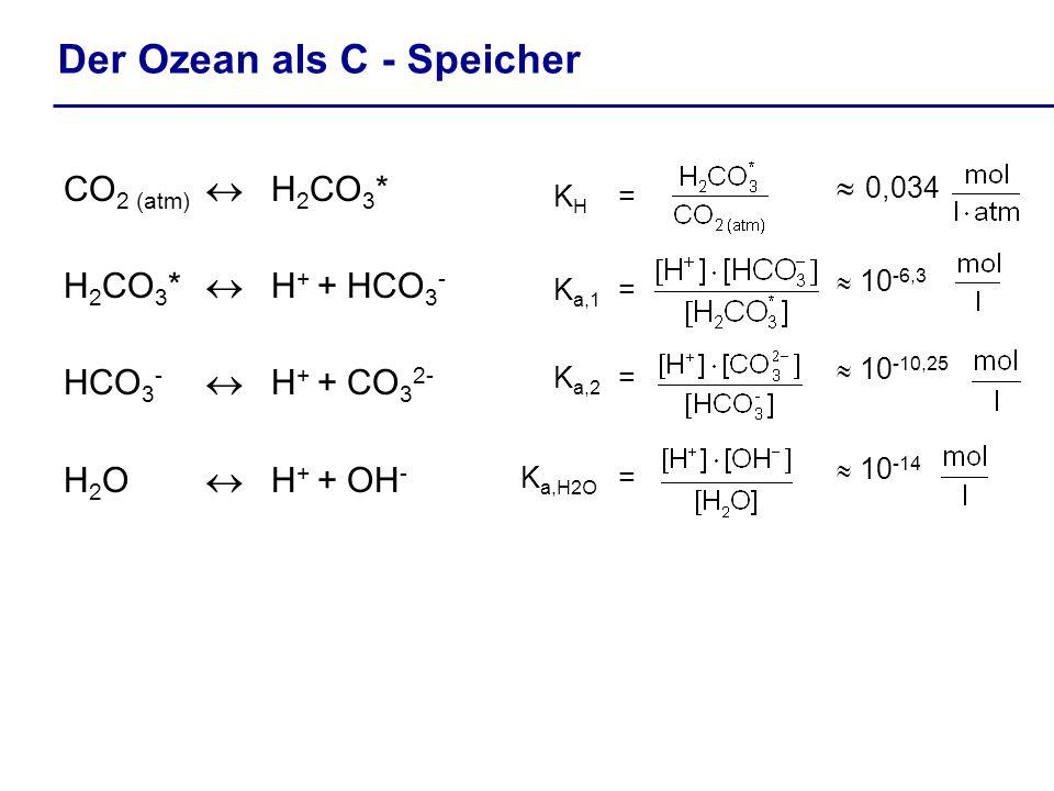 Der Ozean als C - Speicher CO 2 (atm) H 2 CO 3 * H 2 CO 3 * H + + HCO 3 - HCO 3 - H + + CO 3 2- H 2 O H + + OH - K H = K a,1 = K a,2 = K a,H2O = 0,034