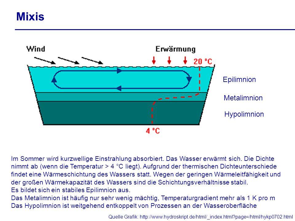 Mixis Im Sommer wird kurzwellige Einstrahlung absorbiert. Das Wasser erwärmt sich. Die Dichte nimmt ab (wenn die Temperatur > 4 °C liegt). Aufgrund de