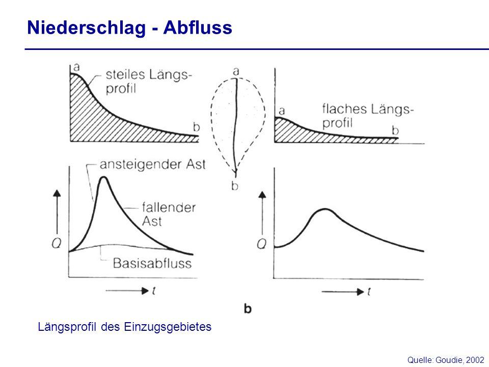 Niederschlag - Abfluss Quelle: Goudie, 2002 Längsprofil des Einzugsgebietes