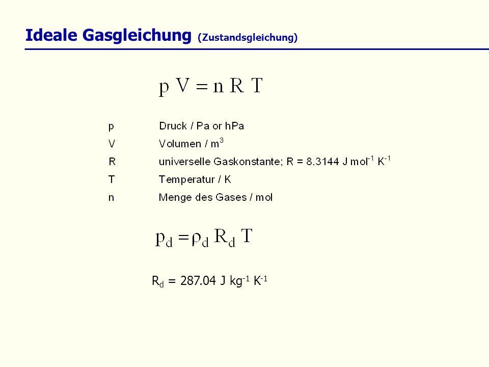 Ideale Gasgleichung (Zustandsgleichung) R d = 287.04 J kg -1 K -1