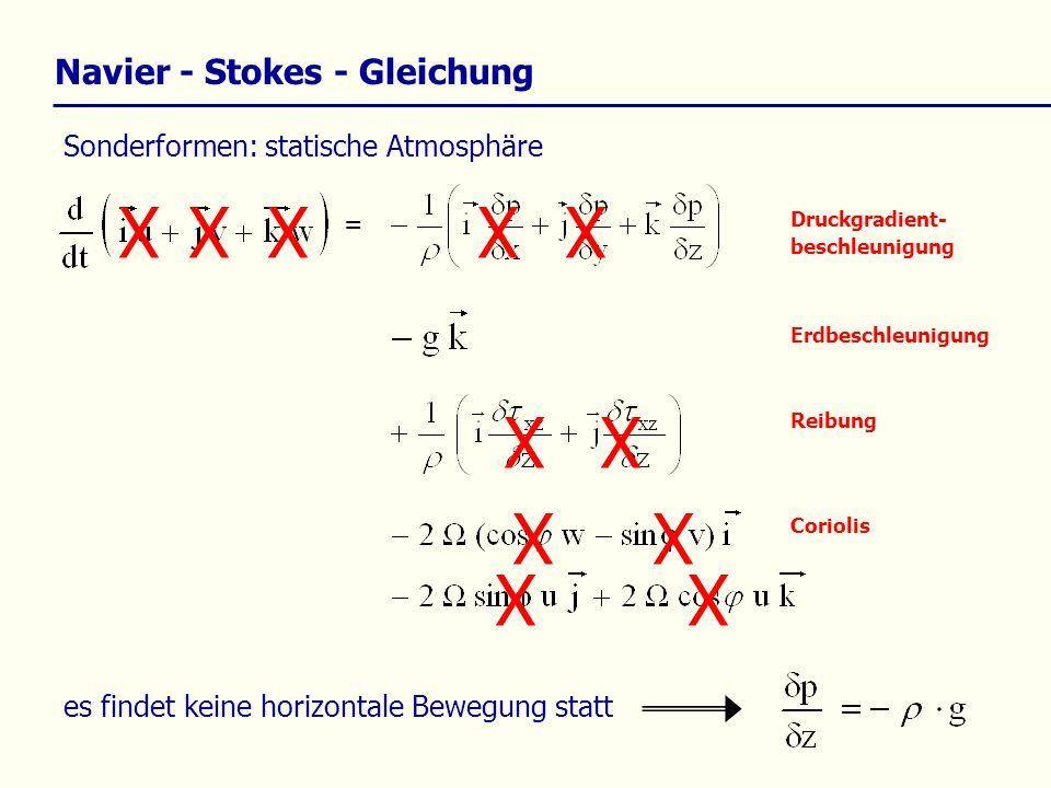 Kontinuitätsgleichung (Erhaltung von Masse) Masse bleibt erhalten vereinfachte Schreibweise: Für mikro- und mesoskalige Prozesse kann gezeigt werden, dass gilt: Dichtefluktuationen werden häufig vernachlässigt.