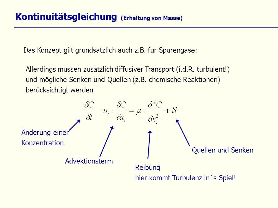 Kontinuitätsgleichung (Erhaltung von Masse) Das Konzept gilt grundsätzlich auch z.B. für Spurengase: Allerdings müssen zusätzlich diffusiver Transport
