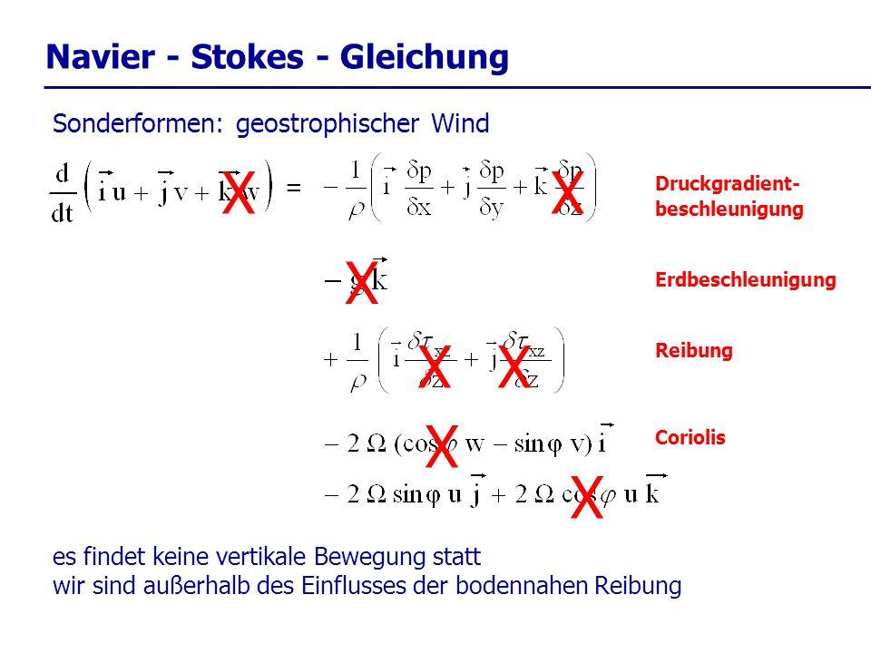 Navier - Stokes - Gleichung = Druckgradient- beschleunigung Reibung Erdbeschleunigung Coriolis Sonderformen: geostrophischer Wind X XX X es findet kei