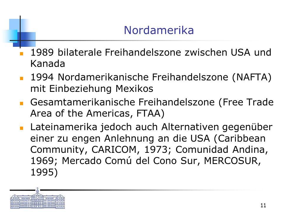 11 Nordamerika 1989 bilaterale Freihandelszone zwischen USA und Kanada 1994 Nordamerikanische Freihandelszone (NAFTA) mit Einbeziehung Mexikos Gesamta