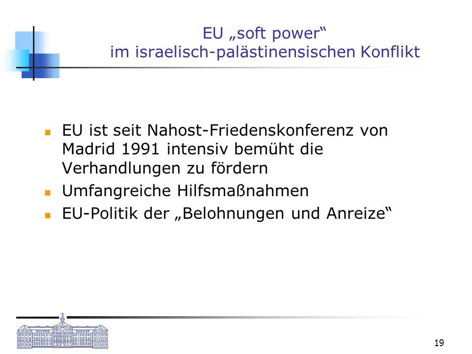 19 EU soft power im israelisch-palästinensischen Konflikt EU ist seit Nahost-Friedenskonferenz von Madrid 1991 intensiv bemüht die Verhandlungen zu fö