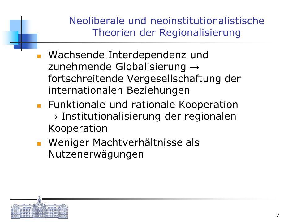 7 Neoliberale und neoinstitutionalistische Theorien der Regionalisierung Wachsende Interdependenz und zunehmende Globalisierung fortschreitende Verges