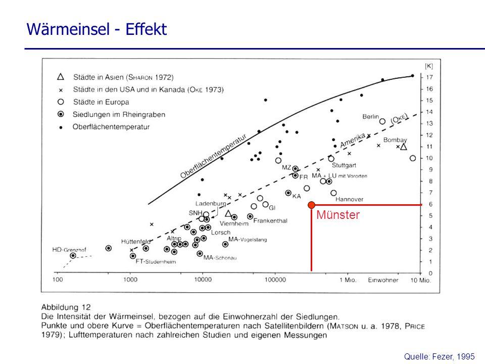 Quelle: Fezer, 1995 Wärmeinsel - Effekt Münster