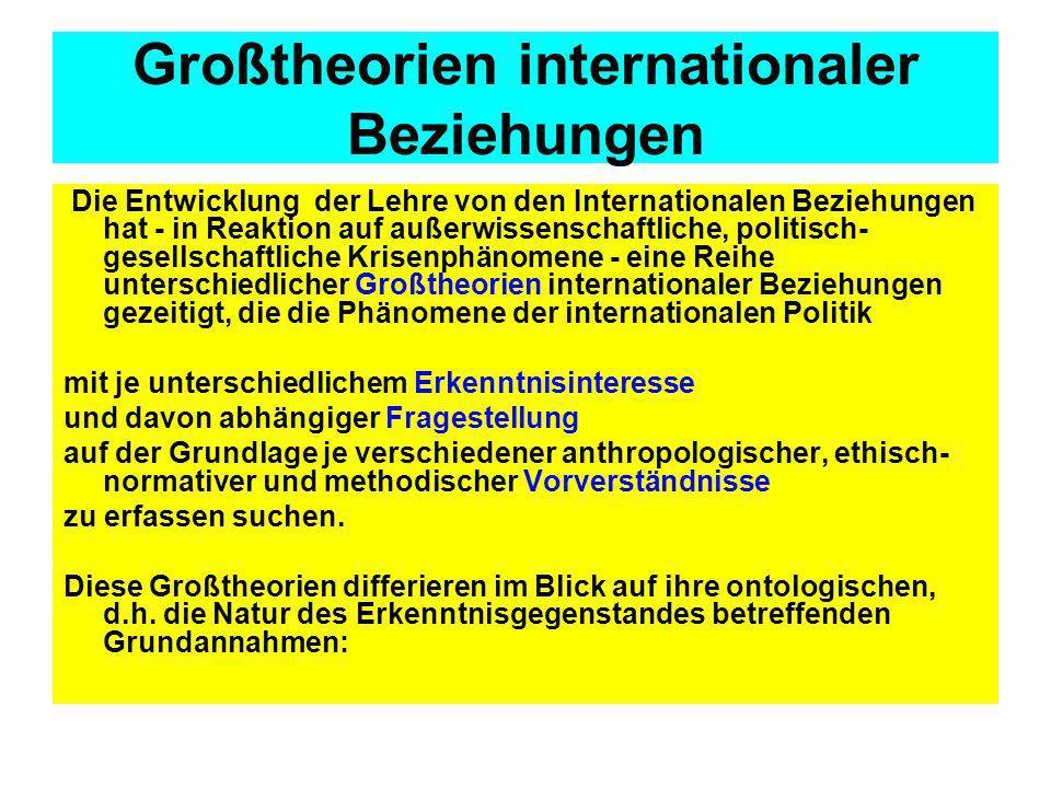 Großtheorien internationaler Beziehungen Die Entwicklung der Lehre von den Internationalen Beziehungen hat - in Reaktion auf außerwissenschaftliche, p