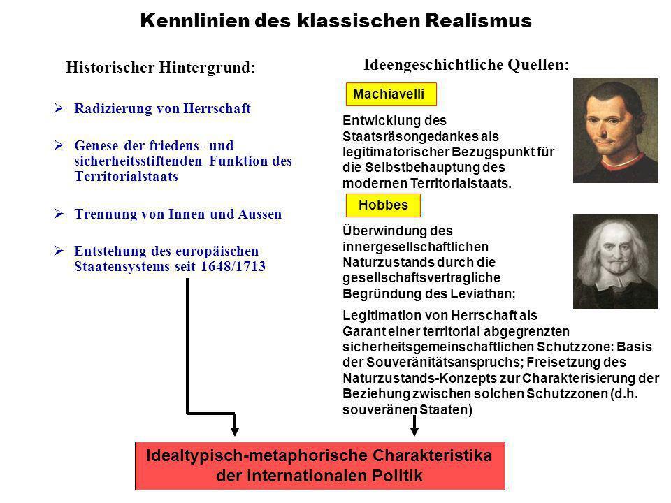 Kennlinien des klassischen Realismus Historischer Hintergrund: R adizierung von Herrschaft G enese der friedens- und sicherheitsstiftenden Funktion de