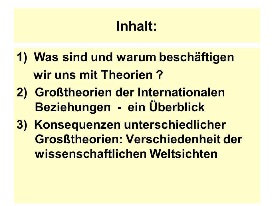 Inhalt: 1) Was sind und warum beschäftigen wir uns mit Theorien ? 2)Großtheorien der Internationalen Beziehungen - ein Überblick 3) Konsequenzen unter