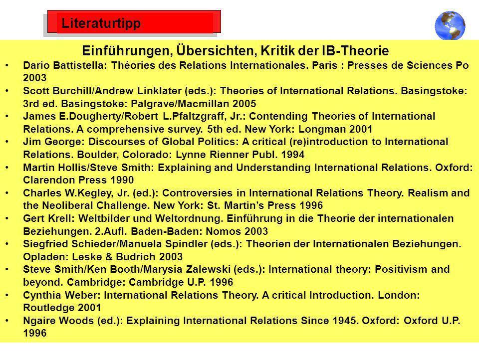 Literaturtipp Einführungen, Übersichten, Kritik der IB-Theorie Dario Battistella: Théories des Relations Internationales. Paris : Presses de Sciences