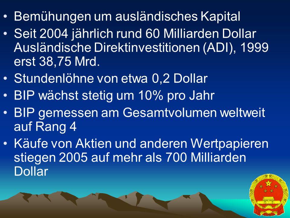17 Bemühungen um ausländisches Kapital Seit 2004 jährlich rund 60 Milliarden Dollar Ausländische Direktinvestitionen (ADI), 1999 erst 38,75 Mrd.