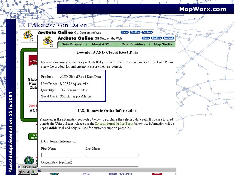 MapWorx.com Abschlußpräsentation 25.IV.2001 2.1 Akquise von Daten