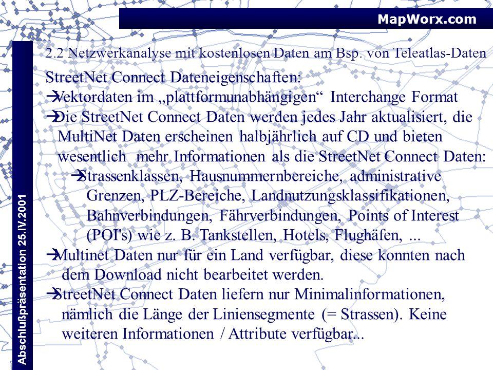 MapWorx.com Abschlußpräsentation 25.IV.2001 2.2 Netzwerkanalyse mit kostenlosen Daten am Bsp. von Teleatlas-Daten StreetNet Connect Dateneigenschaften