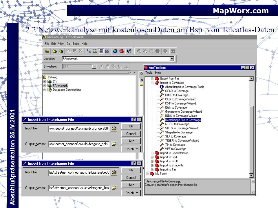 MapWorx.com Abschlußpräsentation 25.IV.2001 2.2 Netzwerkanalyse mit kostenlosen Daten am Bsp. von Teleatlas-Daten