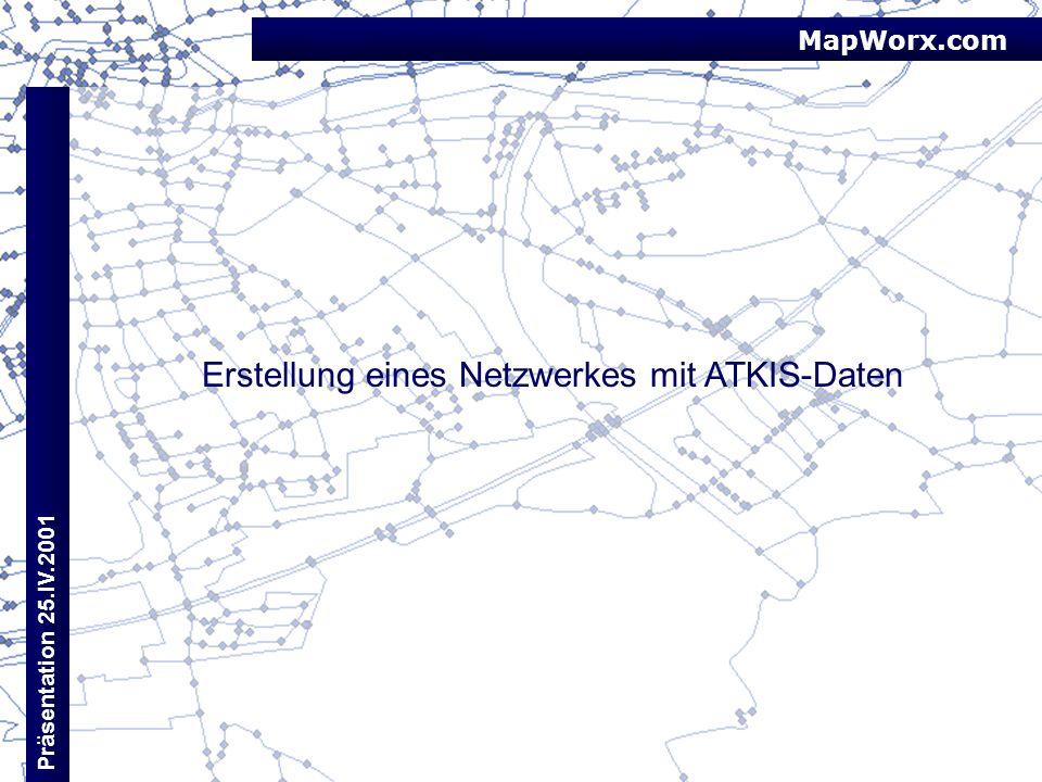 MapWorx.com Präsentation 25.IV.2001 Erstellung eines Netzwerkes mit ATKIS-Daten