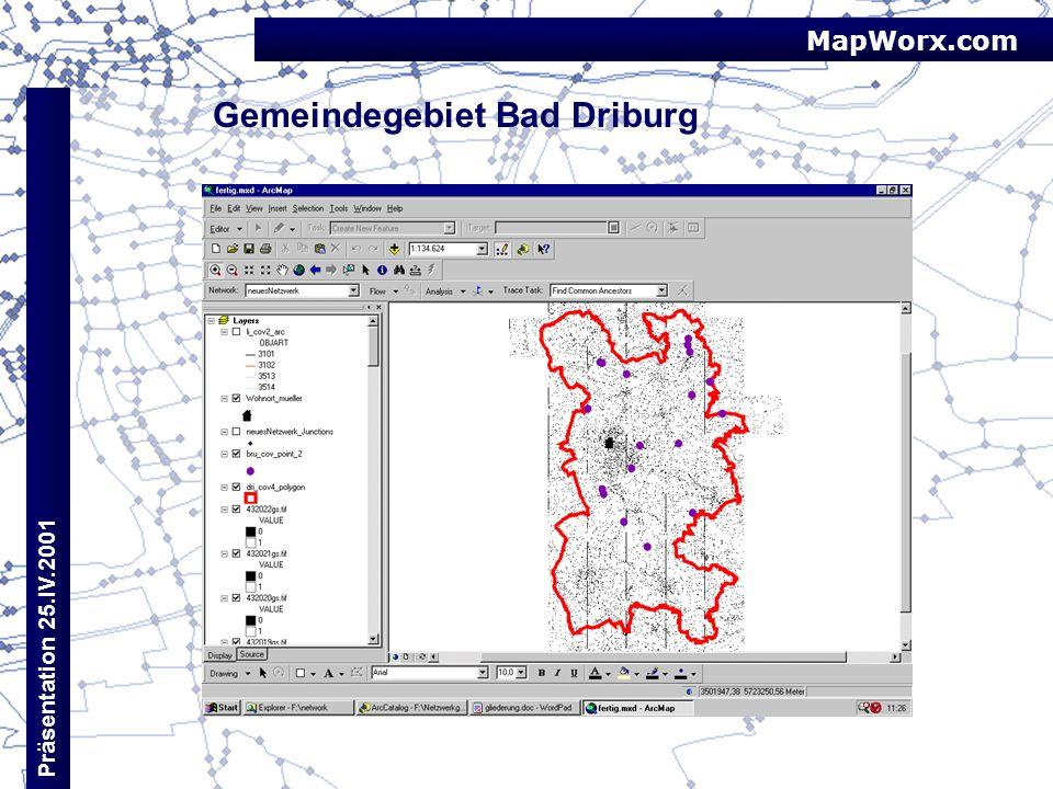 MapWorx.com Präsentation 25.IV.2001 Gemeindegebiet Bad Driburg