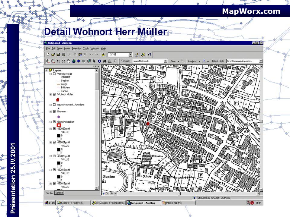 MapWorx.com Präsentation 25.IV.2001 Detail Wohnort Herr Müller