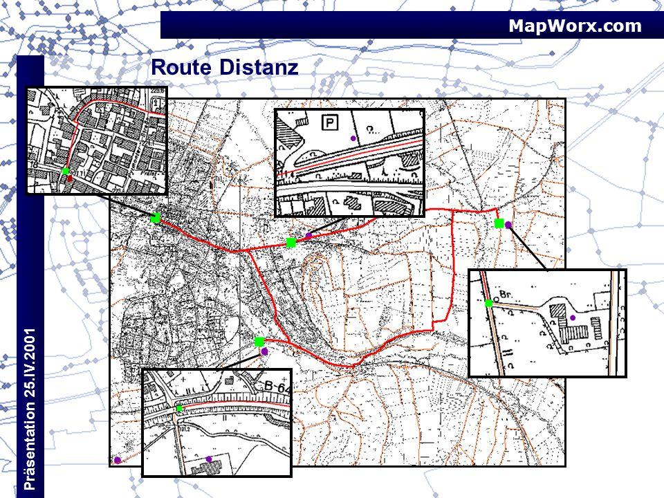 MapWorx.com Präsentation 25.IV.2001 Route Distanz