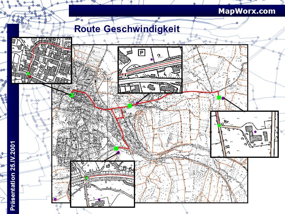 MapWorx.com Präsentation 25.IV.2001 Route Geschwindigkeit