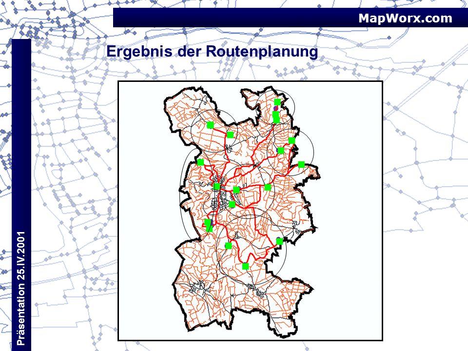 MapWorx.com Präsentation 25.IV.2001 Ergebnis der Routenplanung