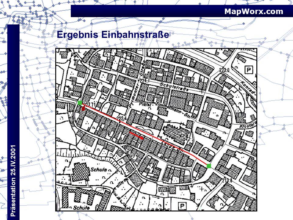 MapWorx.com Präsentation 25.IV.2001 Ergebnis Einbahnstraße