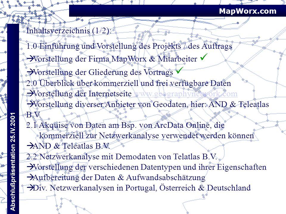 MapWorx.com Abschlußpräsentation 25.IV.2001 Inhaltsverzeichnis (1/2): 1.0 Einführung und Vorstellung des Projekts / des Auftrags Vorstellung der Firma
